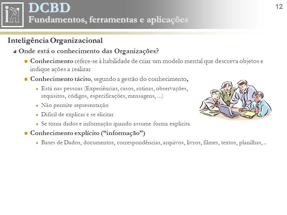 DCBD 12 Fundamentos, ferramentas e aplicações Inteligência Organizacional Onde está o conhecimento das Organizações? Conhecimento refere-se à habilida