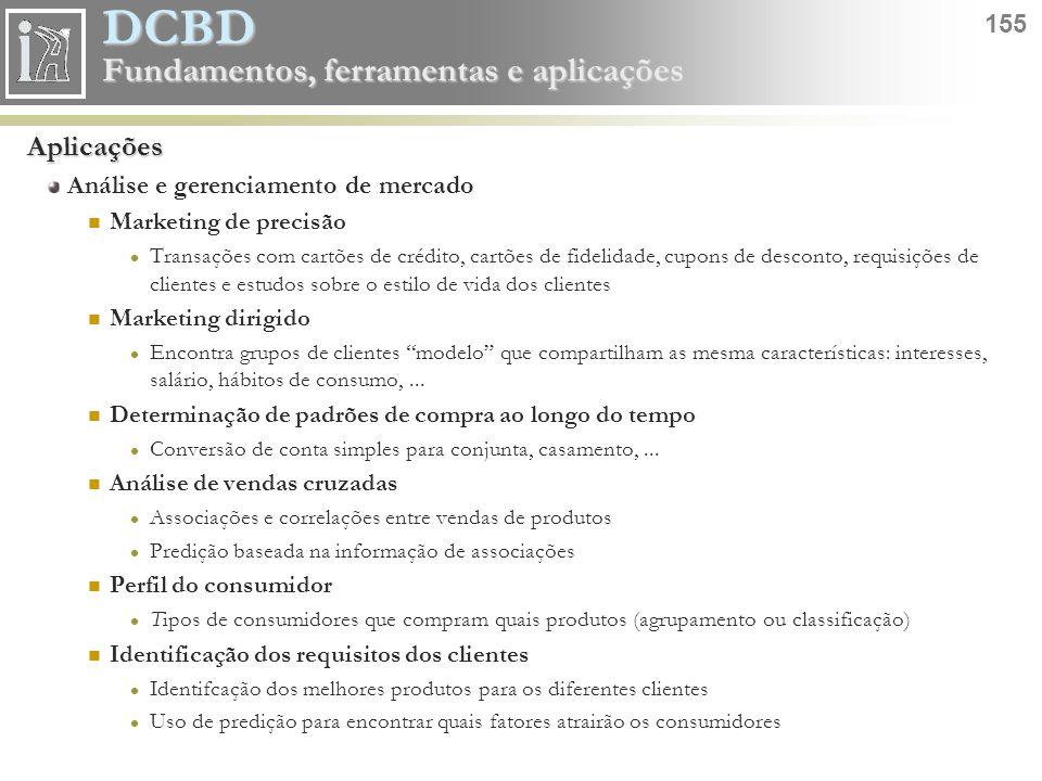 DCBD 155 Fundamentos, ferramentas e aplicações Aplicações Análise e gerenciamento de mercado Marketing de precisão Transações com cartões de crédito,
