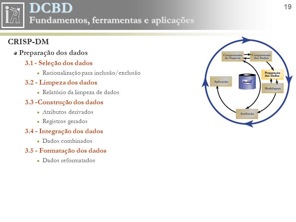 DCBD 19 Fundamentos, ferramentas e aplicações CRISP-DM Preparação dos dados 3.1 - Seleção dos dados Racionalização para inclusão/exclusão 3.2 - Limpez