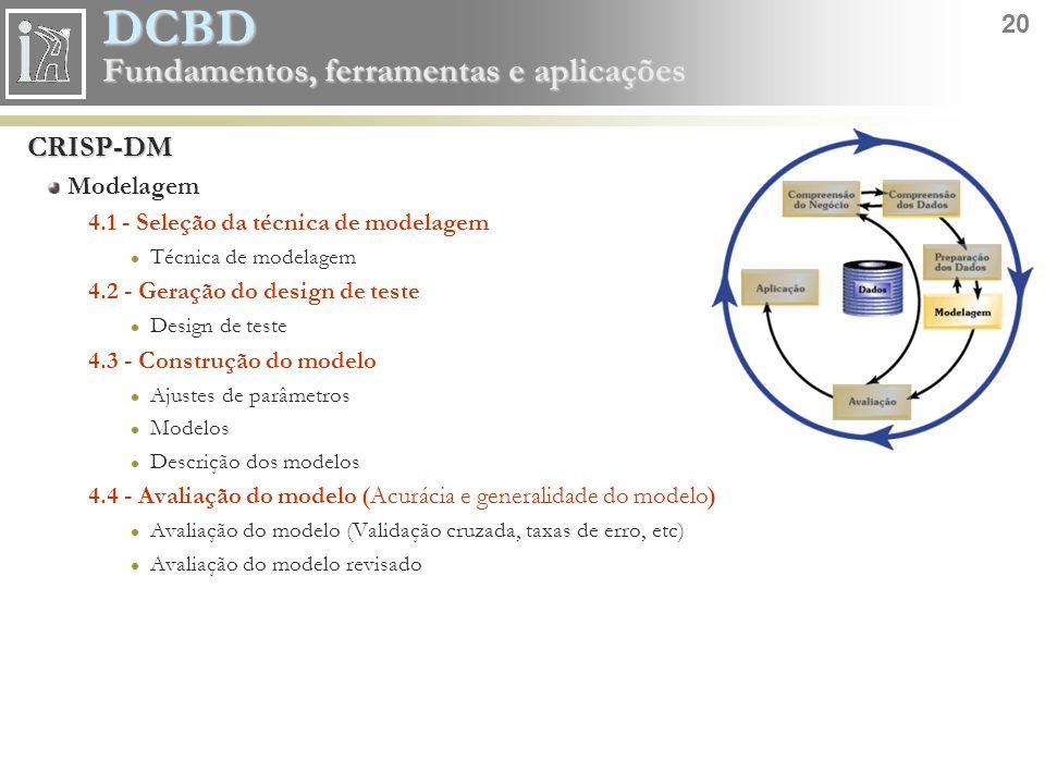 DCBD 20 Fundamentos, ferramentas e aplicações CRISP-DM Modelagem 4.1 - Seleção da técnica de modelagem Técnica de modelagem 4.2 - Geração do design de