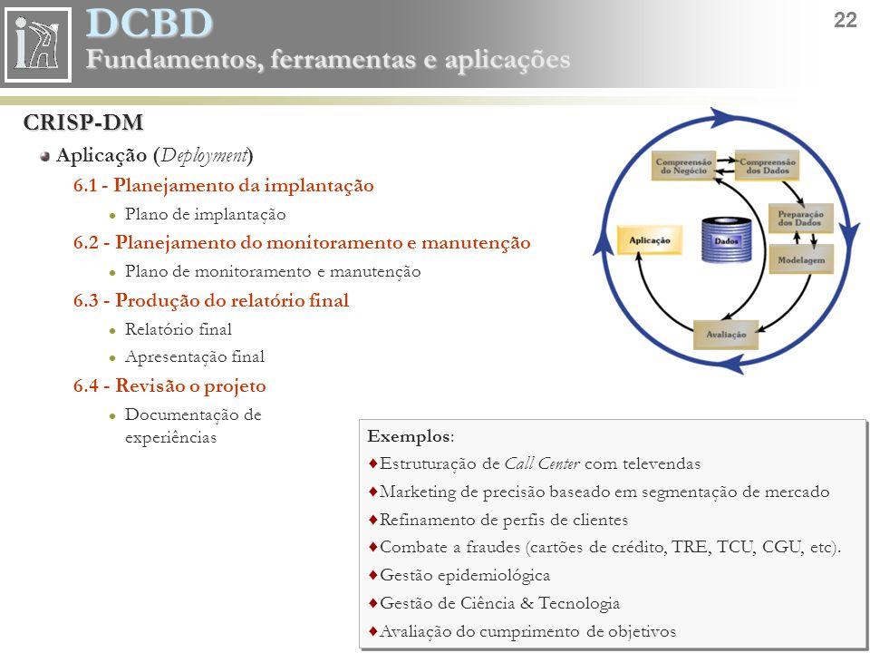 DCBD 22 Fundamentos, ferramentas e aplicações CRISP-DM Aplicação (Deployment) 6.1 - Planejamento da implantação Plano de implantação 6.2 - Planejament