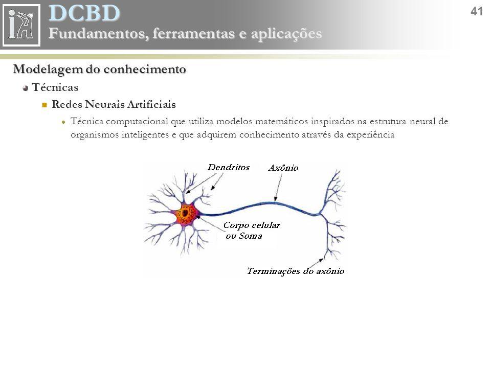 DCBD 41 Fundamentos, ferramentas e aplicações Modelagem do conhecimento Técnicas Redes Neurais Artificiais Técnica computacional que utiliza modelos m