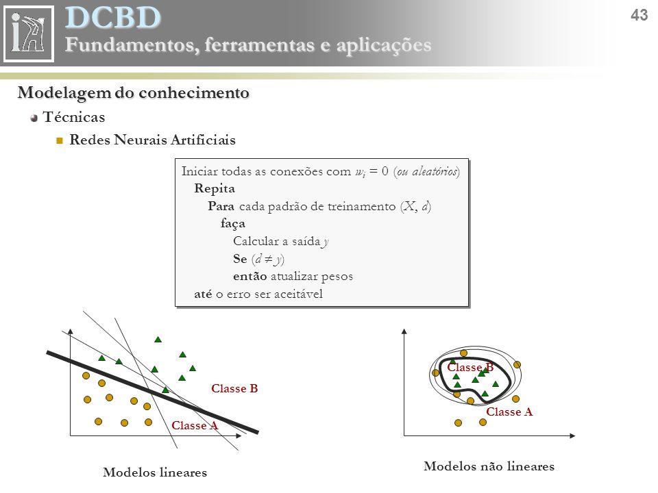 DCBD 43 Fundamentos, ferramentas e aplicações Modelagem do conhecimento Técnicas Redes Neurais Artificiais Iniciar todas as conexões com w i = 0 (ou a