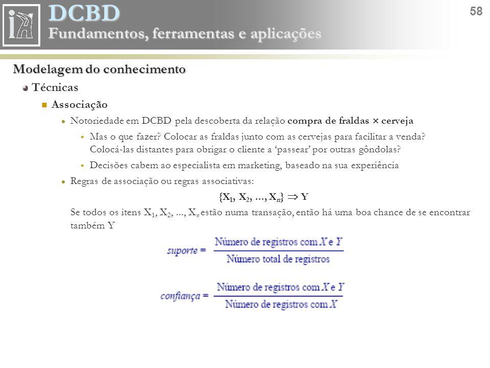 DCBD 58 Fundamentos, ferramentas e aplicações Modelagem do conhecimento Técnicas Associação Notoriedade em DCBD pela descoberta da relação compra de f