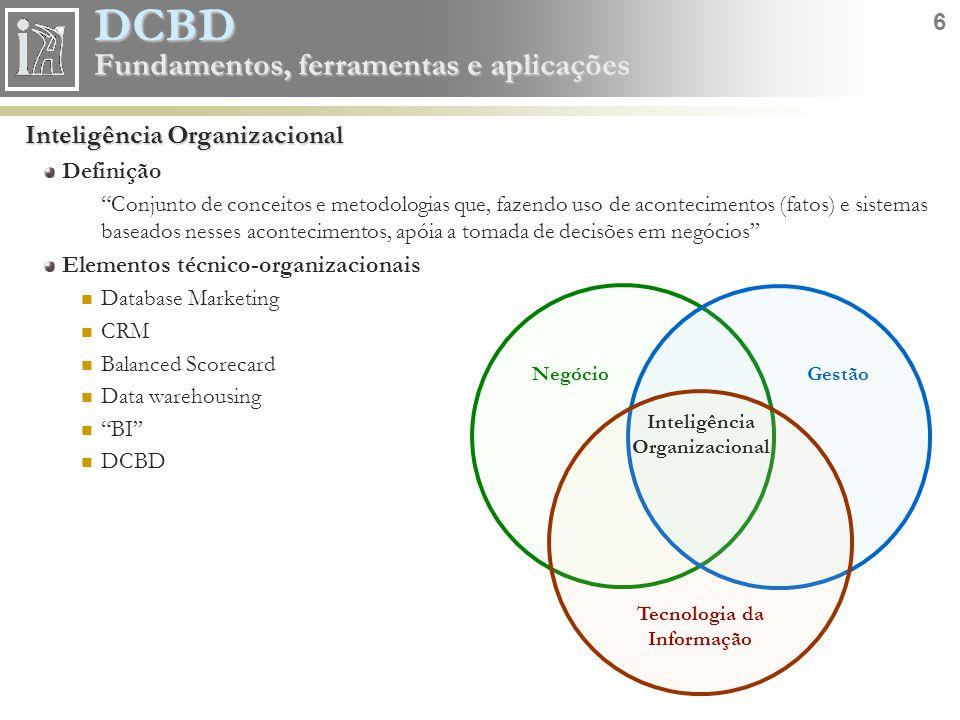 DCBD 17 Fundamentos, ferramentas e aplicações CRISP-DM Compreensão do problema 1.1 - Objetivos do negócio Plano de fundo Objetivos do negócio Critério de sucesso do negócio 1.2 - Avaliação da situação Inventário de recursos Exigências, suposições e limitações Riscos e contingências Terminologia Custos e benefícios 1.3 - Objetivos do data mining (DCBD) Objetivos do data mining Critério do sucesso do data mining 1.4 - Plano de projeto Plano de projeto Avaliação inicial de ferramentas e técnicas