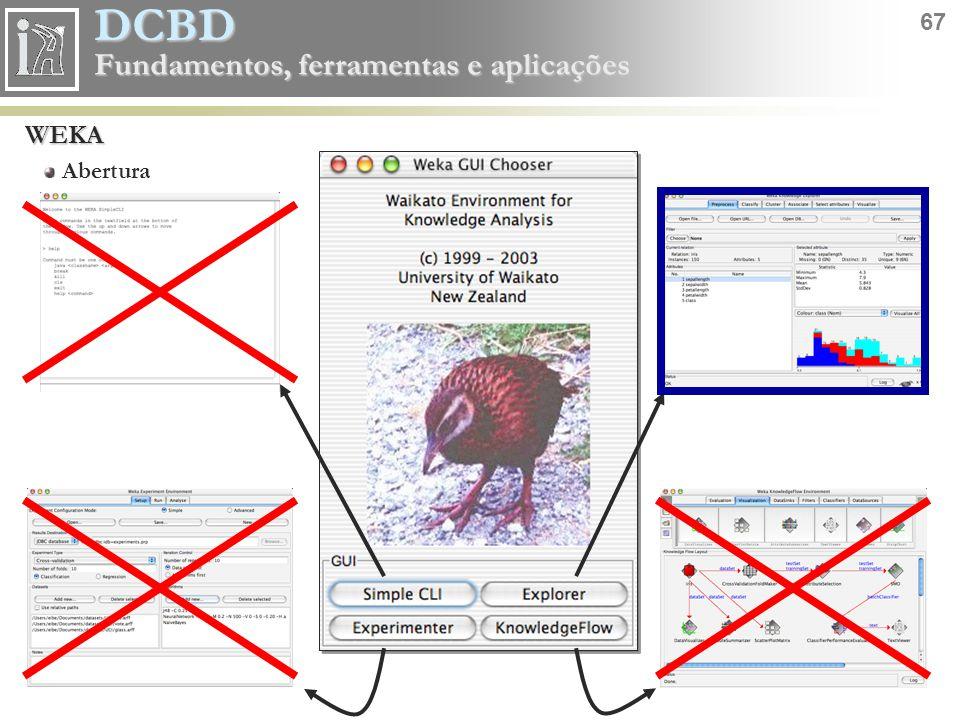 DCBD 67 Fundamentos, ferramentas e aplicações WEKA Abertura