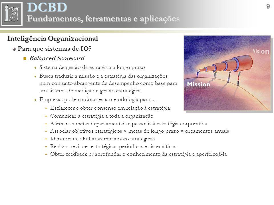 DCBD 9 Fundamentos, ferramentas e aplicações Inteligência Organizacional Para que sistemas de IO? Balanced Scorecard Sistema de gestão da estratégia a