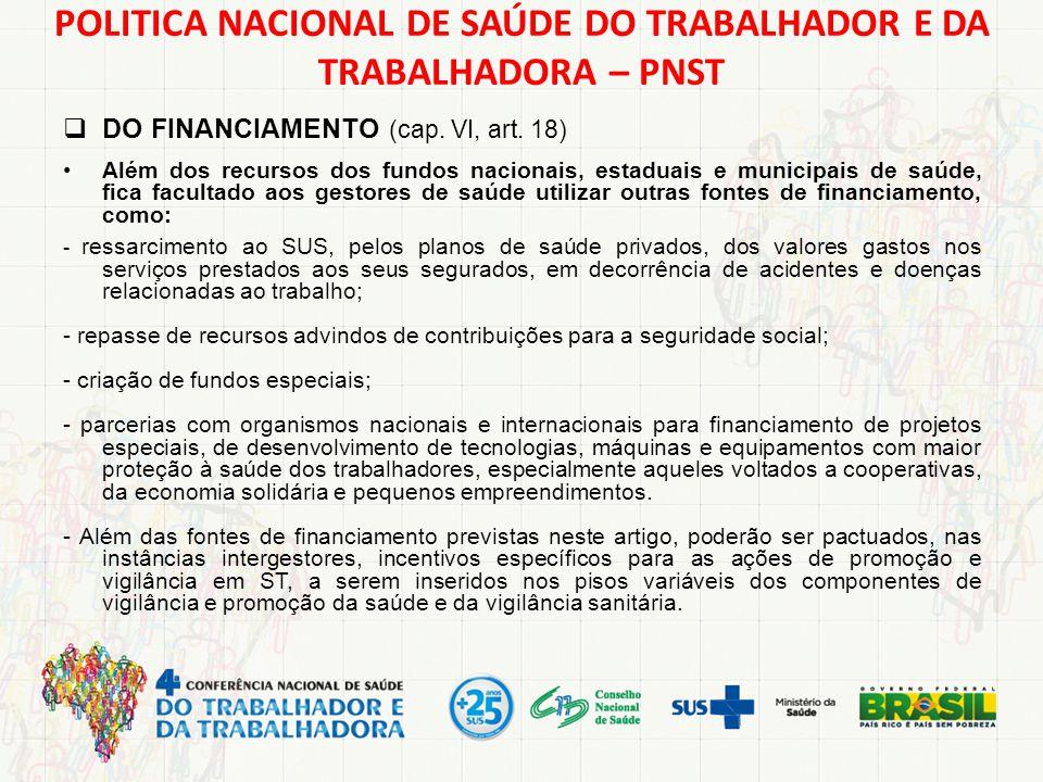  DO FINANCIAMENTO (cap. VI, art. 18) Além dos recursos dos fundos nacionais, estaduais e municipais de saúde, fica facultado aos gestores de saúde ut