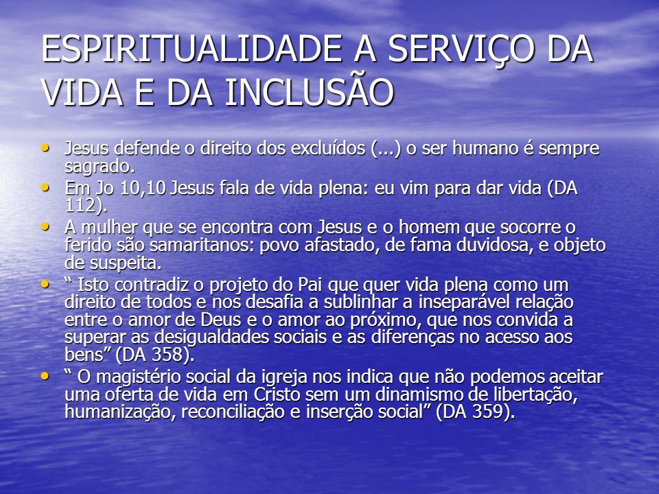 ESPIRITUALIDADE A SERVIÇO DA VIDA E DA INCLUSÃO Jesus defende o direito dos excluídos (...) o ser humano é sempre sagrado. Jesus defende o direito dos