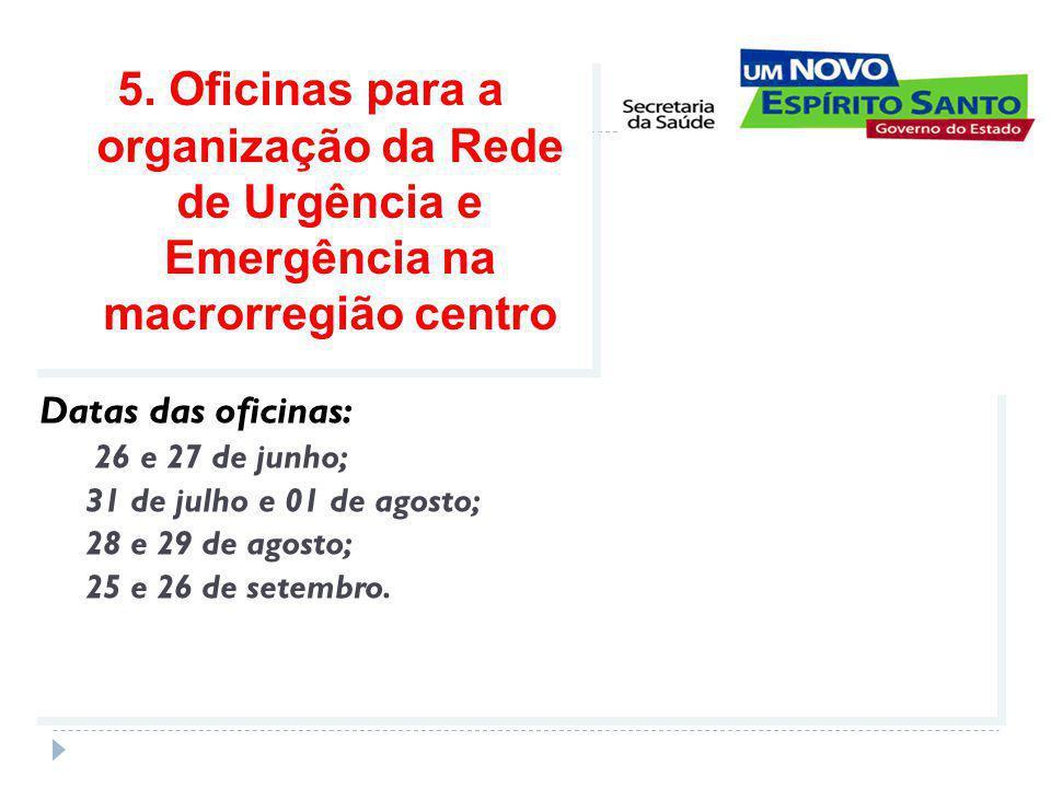 Datas das oficinas: 26 e 27 de junho; 31 de julho e 01 de agosto; 28 e 29 de agosto; 25 e 26 de setembro.