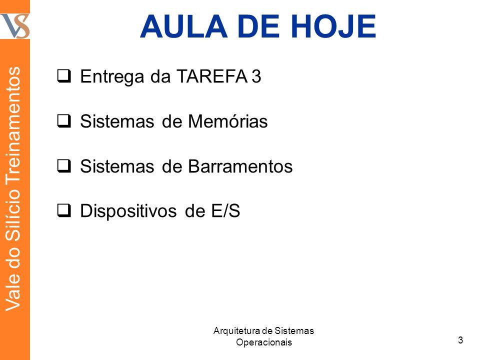 AULA DE HOJE  Entrega da TAREFA 3  Sistemas de Memórias  Sistemas de Barramentos  Dispositivos de E/S 3 Arquitetura de Sistemas Operacionais Vale do Silício Treinamentos