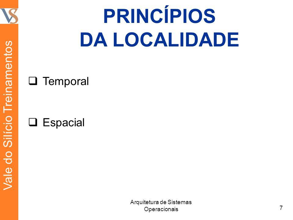 PRINCÍPIOS DA LOCALIDADE 7 Arquitetura de Sistemas Operacionais  Temporal  Espacial Vale do Silício Treinamentos