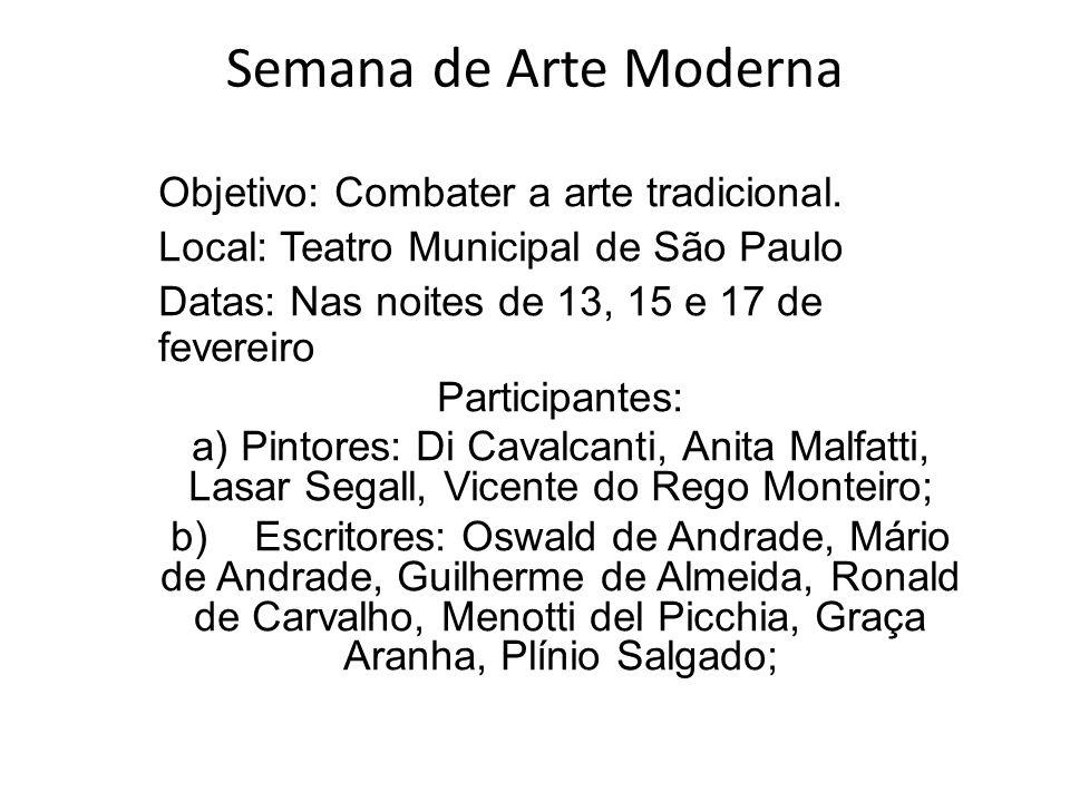 Semana de Arte Moderna Objetivo: Combater a arte tradicional. Local: Teatro Municipal de São Paulo Datas: Nas noites de 13, 15 e 17 de fevereiro Parti