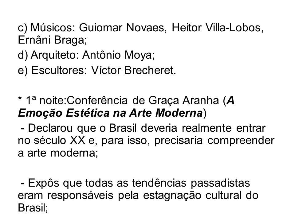 c) Músicos: Guiomar Novaes, Heitor Villa-Lobos, Ernâni Braga; d) Arquiteto: Antônio Moya; e) Escultores: Víctor Brecheret. * 1ª noite:Conferência de G