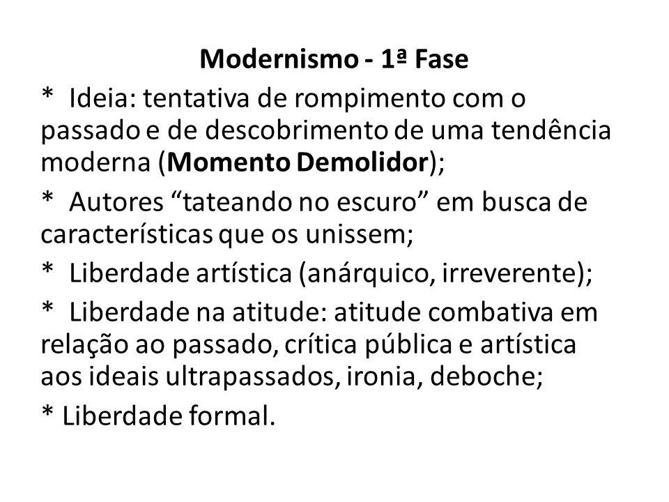 """Modernismo - 1ª Fase * Ideia: tentativa de rompimento com o passado e de descobrimento de uma tendência moderna (Momento Demolidor); * Autores """"tatean"""