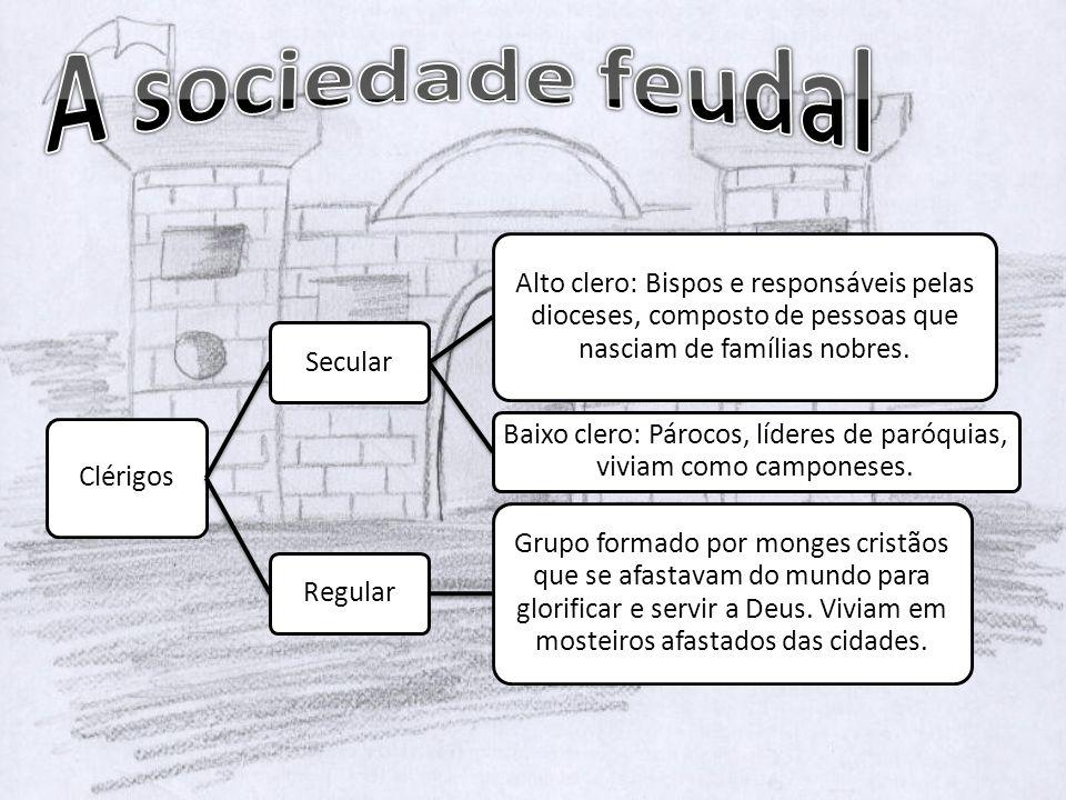 Clérigos Secular Alto clero: Bispos e responsáveis pelas dioceses, composto de pessoas que nasciam de famílias nobres. Baixo clero: Párocos, líderes d