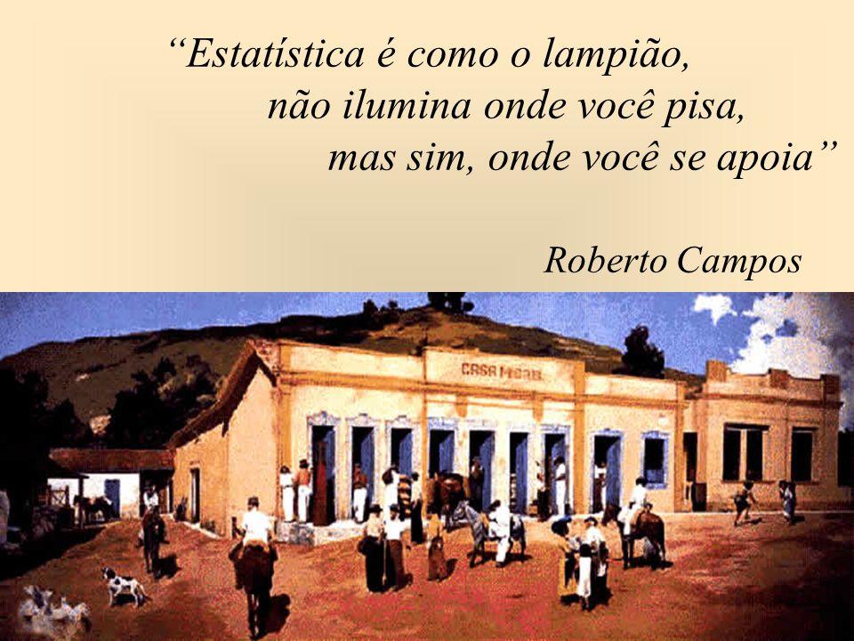 """""""Estatística é como o lampião, não ilumina onde você pisa, mas sim, onde você se apoia"""" Roberto Campos"""