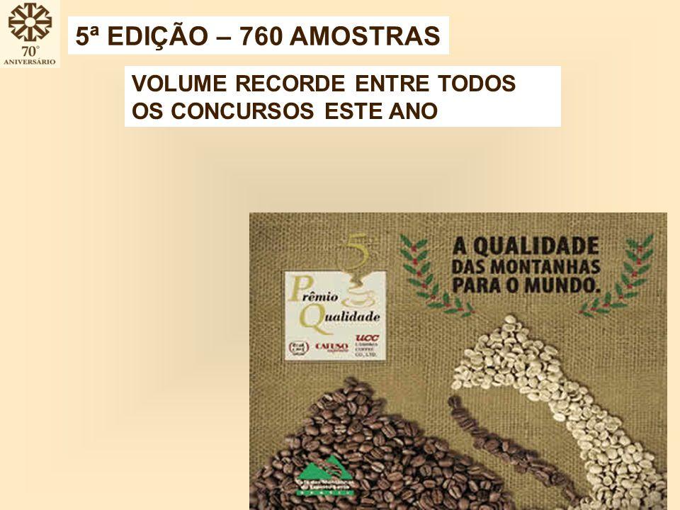 VOLUME RECORDE ENTRE TODOS OS CONCURSOS ESTE ANO 5ª EDIÇÃO – 760 AMOSTRAS