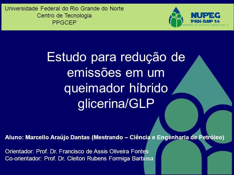 Estudo para redução de emissões em um queimador híbrido glicerina/GLP Aluno: Marcello Araújo Dantas (Mestrando – Ciência e Engenharia de Petróleo) Ori