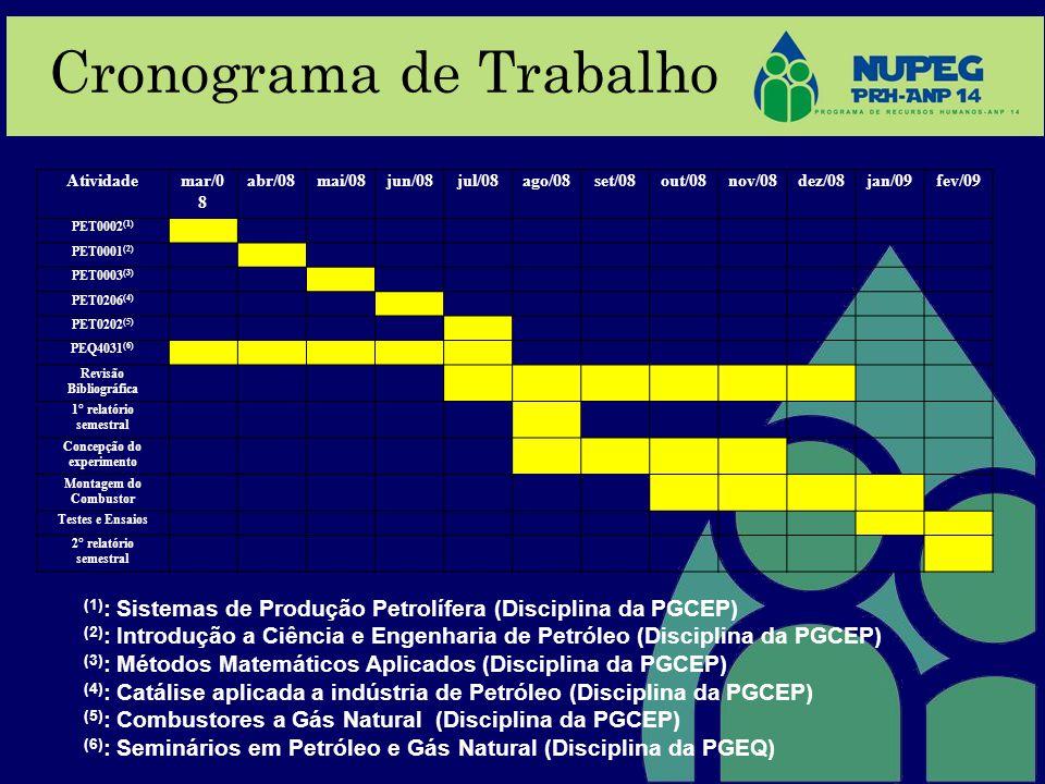 Cronograma de Trabalho (1) : Sistemas de Produção Petrolífera (Disciplina da PGCEP) (2) : Introdução a Ciência e Engenharia de Petróleo (Disciplina da