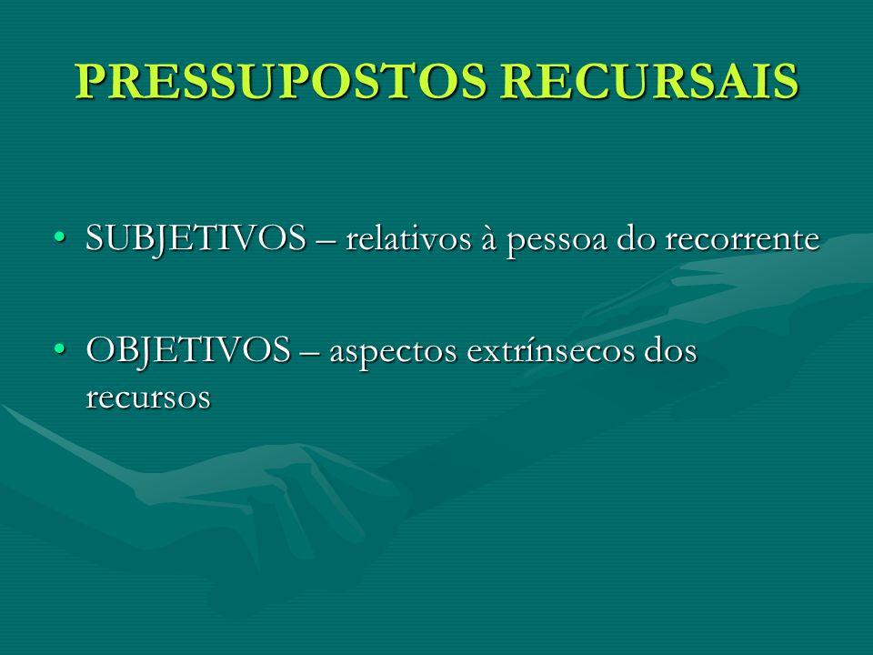 SUBJETIVOS – relativos à pessoa do recorrenteSUBJETIVOS – relativos à pessoa do recorrente OBJETIVOS – aspectos extrínsecos dos recursosOBJETIVOS – aspectos extrínsecos dos recursos