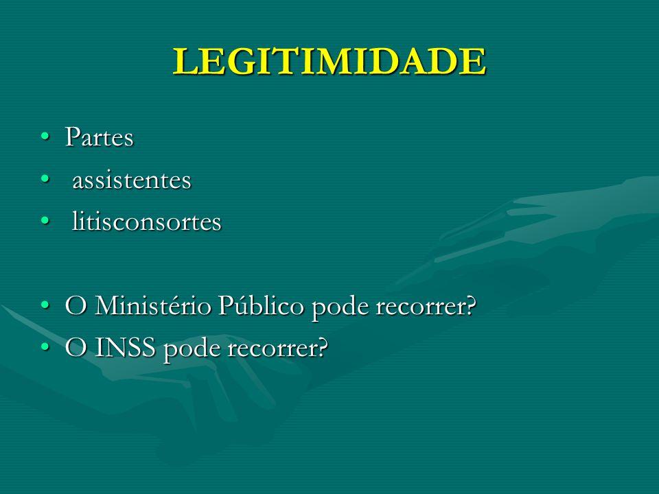 LEGITIMIDADE PartesPartes assistentes assistentes litisconsortes litisconsortes O Ministério Público pode recorrer?O Ministério Público pode recorrer.