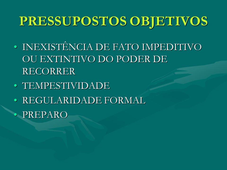 PRESSUPOSTOS OBJETIVOS INEXISTÊNCIA DE FATO IMPEDITIVO OU EXTINTIVO DO PODER DE RECORRERINEXISTÊNCIA DE FATO IMPEDITIVO OU EXTINTIVO DO PODER DE RECORRER TEMPESTIVIDADETEMPESTIVIDADE REGULARIDADE FORMALREGULARIDADE FORMAL PREPAROPREPARO