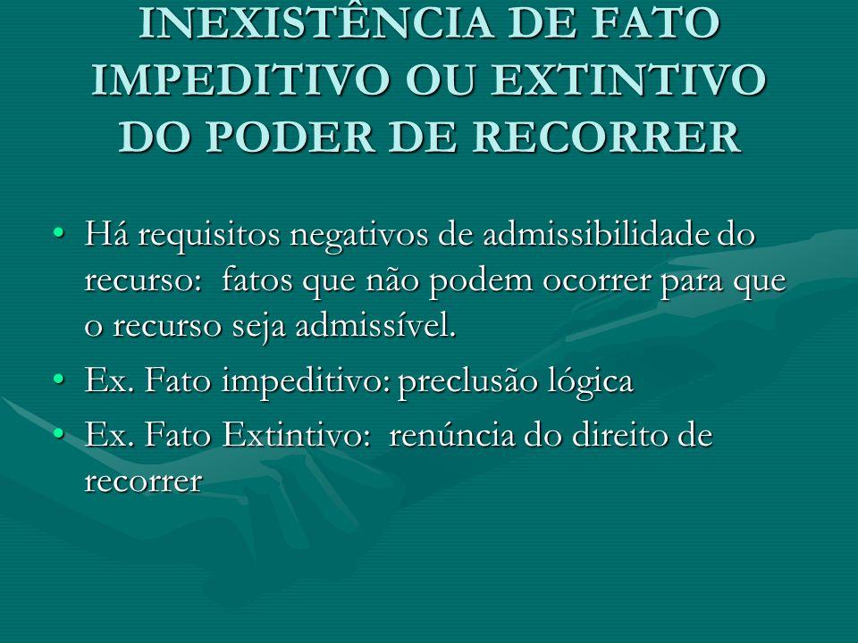 INEXISTÊNCIA DE FATO IMPEDITIVO OU EXTINTIVO DO PODER DE RECORRER Há requisitos negativos de admissibilidade do recurso: fatos que não podem ocorrer p