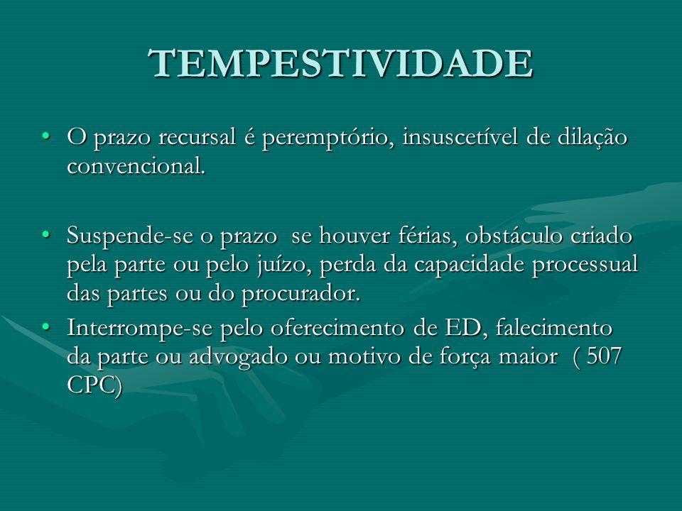 TEMPESTIVIDADE O prazo recursal é peremptório, insuscetível de dilação convencional.O prazo recursal é peremptório, insuscetível de dilação convencional.