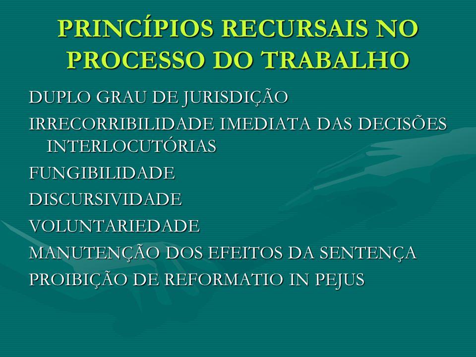 PRINCÍPIOS RECURSAIS NO PROCESSO DO TRABALHO DUPLO GRAU DE JURISDIÇÃO IRRECORRIBILIDADE IMEDIATA DAS DECISÕES INTERLOCUTÓRIAS FUNGIBILIDADEDISCURSIVIDADEVOLUNTARIEDADE MANUTENÇÃO DOS EFEITOS DA SENTENÇA PROIBIÇÃO DE REFORMATIO IN PEJUS
