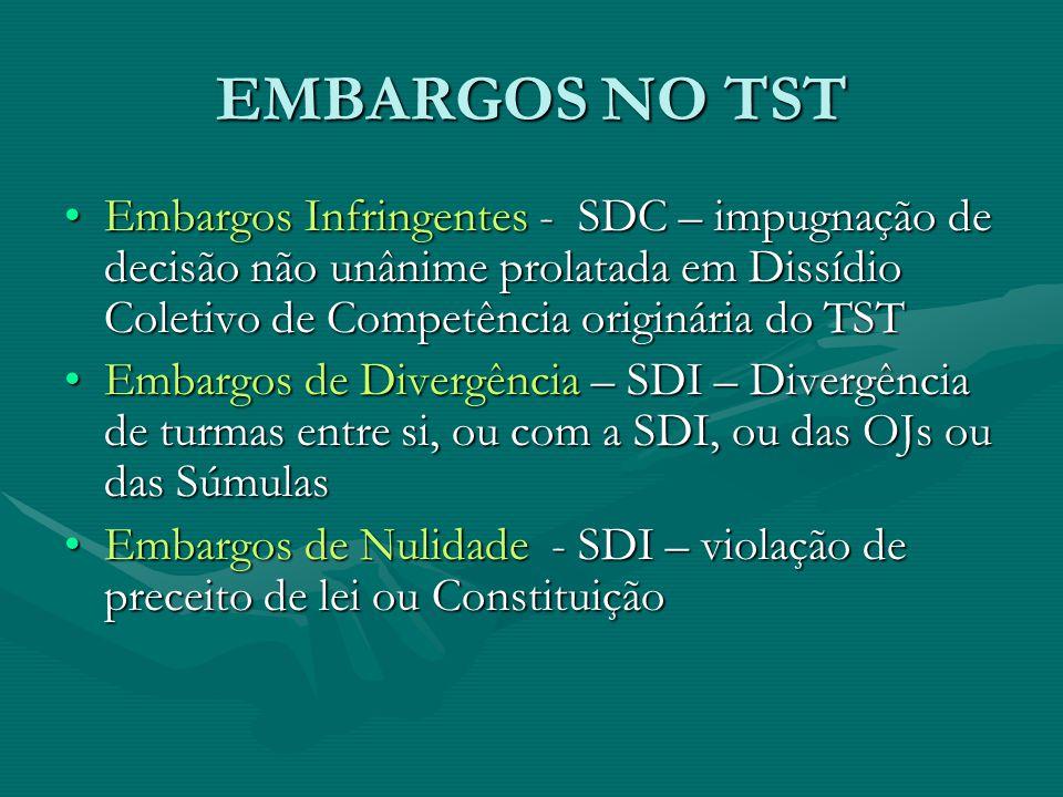 EMBARGOS NO TST Embargos Infringentes - SDC – impugnação de decisão não unânime prolatada em Dissídio Coletivo de Competência originária do TSTEmbargos Infringentes - SDC – impugnação de decisão não unânime prolatada em Dissídio Coletivo de Competência originária do TST Embargos de Divergência – SDI – Divergência de turmas entre si, ou com a SDI, ou das OJs ou das SúmulasEmbargos de Divergência – SDI – Divergência de turmas entre si, ou com a SDI, ou das OJs ou das Súmulas Embargos de Nulidade - SDI – violação de preceito de lei ou ConstituiçãoEmbargos de Nulidade - SDI – violação de preceito de lei ou Constituição
