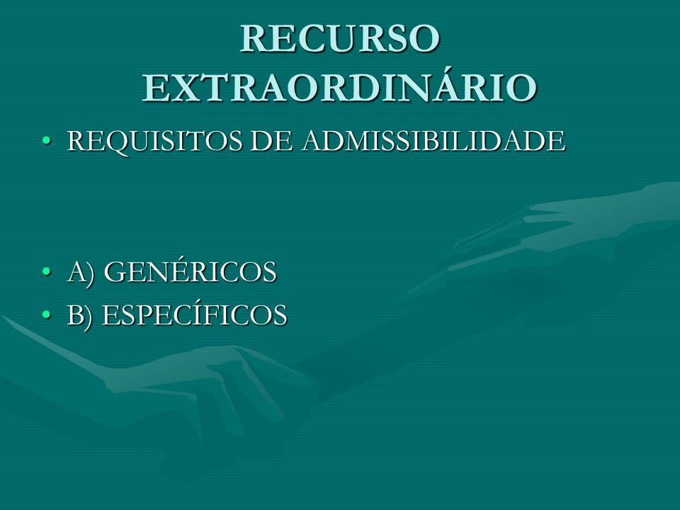 RECURSO EXTRAORDINÁRIO REQUISITOS DE ADMISSIBILIDADEREQUISITOS DE ADMISSIBILIDADE A) GENÉRICOSA) GENÉRICOS B) ESPECÍFICOSB) ESPECÍFICOS