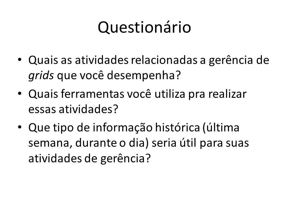Questionário Quais as atividades relacionadas a gerência de grids que você desempenha? Quais ferramentas você utiliza pra realizar essas atividades? Q