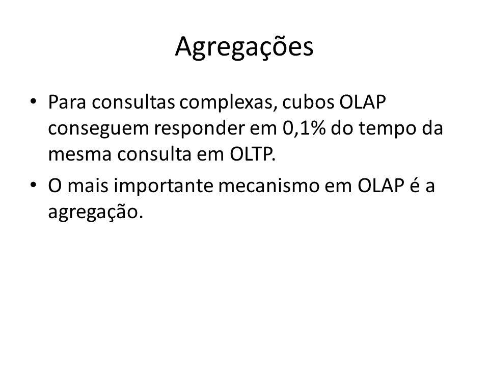 Agregações Para consultas complexas, cubos OLAP conseguem responder em 0,1% do tempo da mesma consulta em OLTP. O mais importante mecanismo em OLAP é