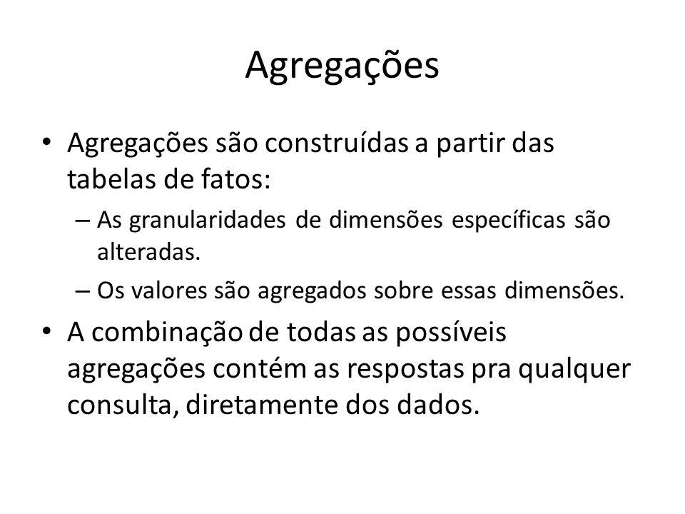 Agregações Agregações são construídas a partir das tabelas de fatos: – As granularidades de dimensões específicas são alteradas. – Os valores são agre