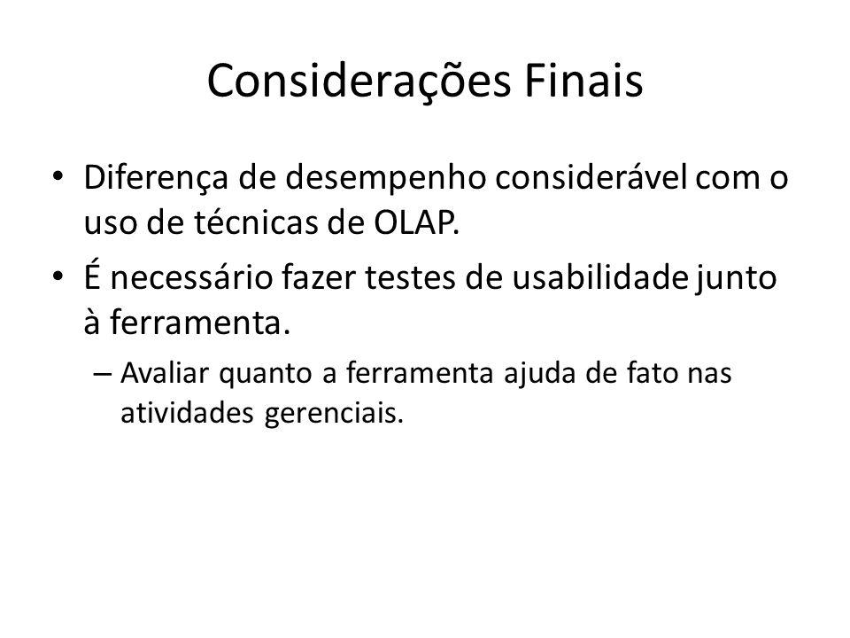 Considerações Finais Diferença de desempenho considerável com o uso de técnicas de OLAP. É necessário fazer testes de usabilidade junto à ferramenta.