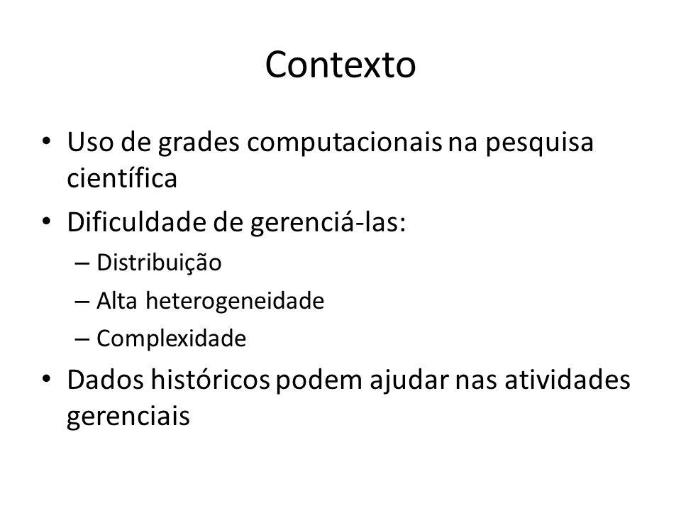Contexto Uso de grades computacionais na pesquisa científica Dificuldade de gerenciá-las: – Distribuição – Alta heterogeneidade – Complexidade Dados h