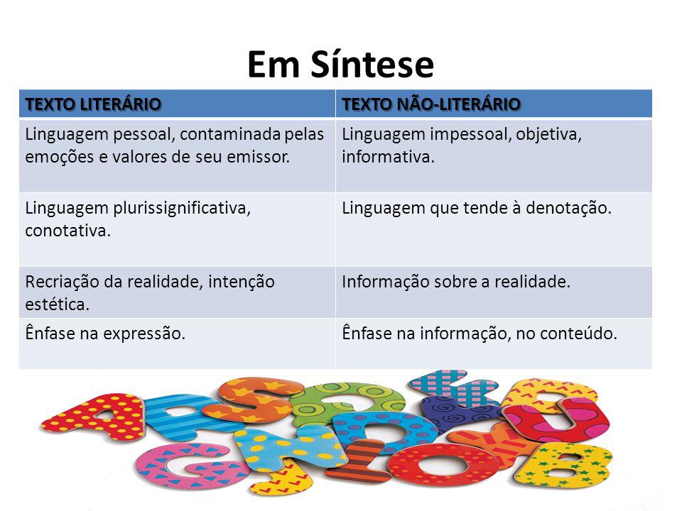Em Síntese TEXTO LITERÁRIO TEXTO NÃO-LITERÁRIO Linguagem pessoal, contaminada pelas emoções e valores de seu emissor.