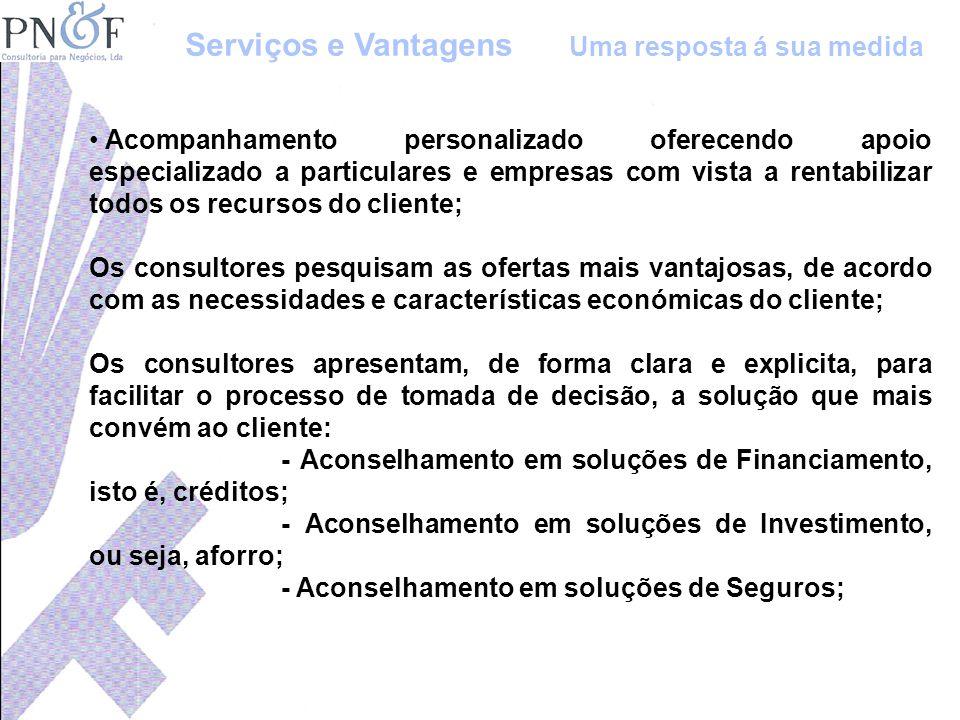 Acompanhamento personalizado oferecendo apoio especializado a particulares e empresas com vista a rentabilizar todos os recursos do cliente; Os consul