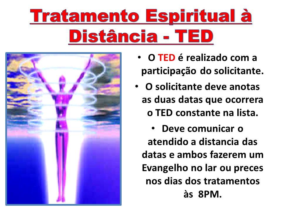 O TED é realizado com a participação do solicitante. O solicitante deve anotas as duas datas que ocorrera o TED constante na lista. Deve comunicar o a