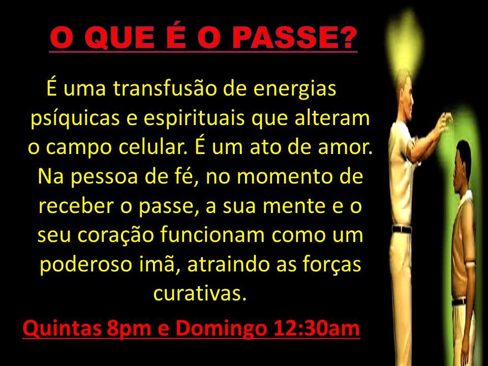 É uma transfusão de energias psíquicas e espirituais que alteram o campo celular. É um ato de amor. Na pessoa de fé, no momento de receber o passe, a
