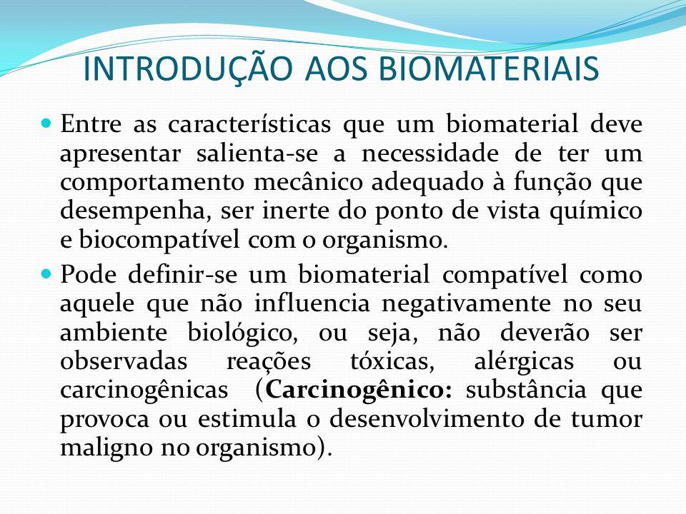 INTRODUÇÃO AOS BIOMATERIAIS Entre as características que um biomaterial deve apresentar salienta-se a necessidade de ter um comportamento mecânico ade