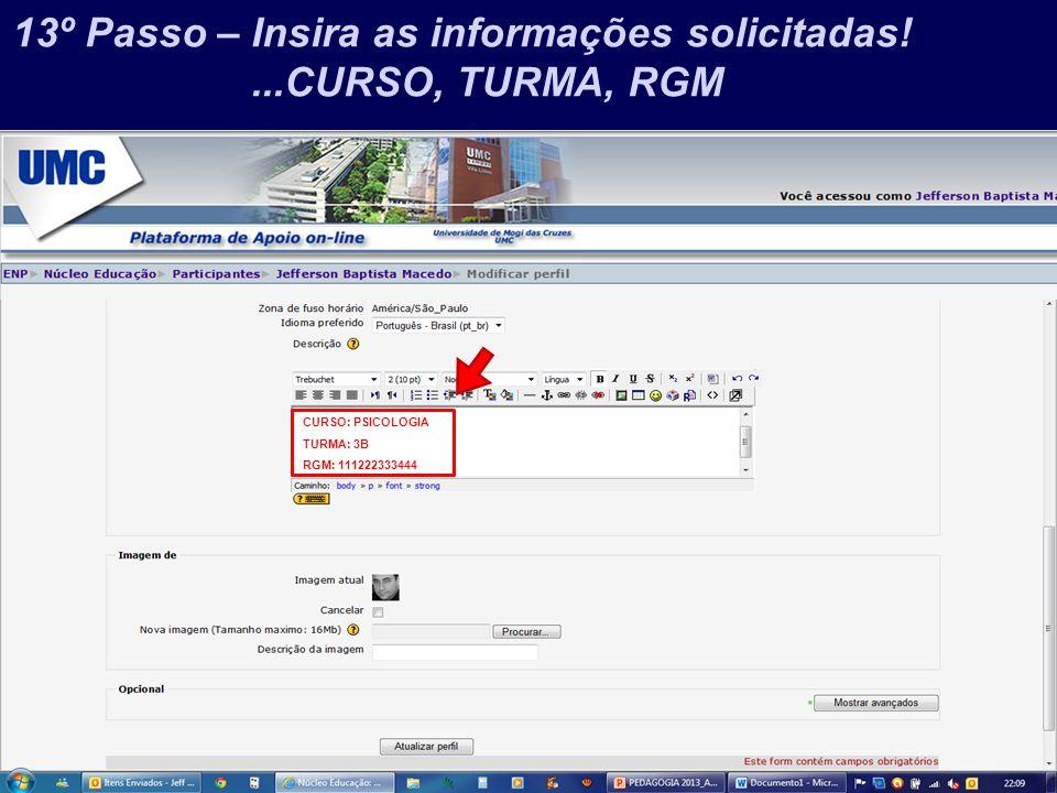 Prof. Jefferson Baptista Macedo / 2013 13º Passo – Insira as informações solicitadas!...CURSO, TURMA, RGM CURSO: PSICOLOGIA TURMA: 3B RGM: 11122233344
