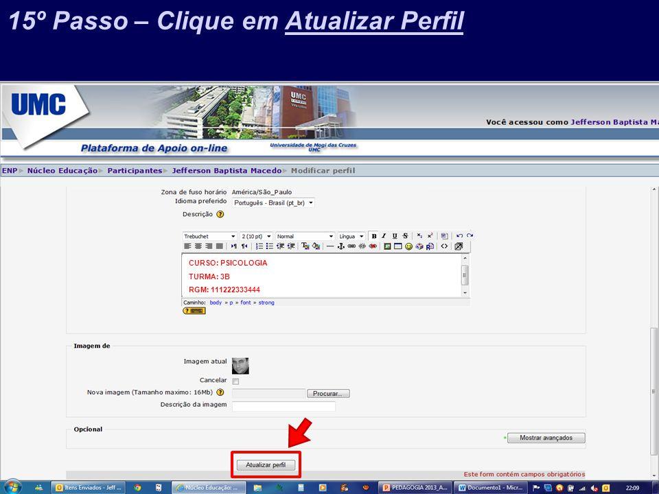 Prof. Jefferson Baptista Macedo / 2013 CURSO: PSICOLOGIA TURMA: 3B RGM: 111222333444 15º Passo – Clique em Atualizar Perfil