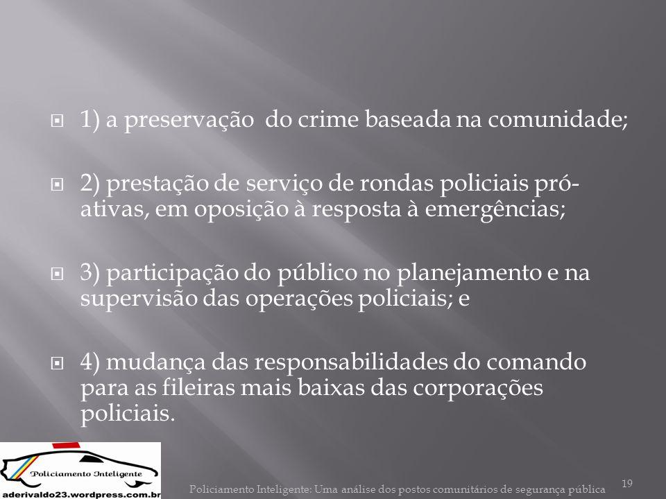  1) a preservação do crime baseada na comunidade;  2) prestação de serviço de rondas policiais pró- ativas, em oposição à resposta à emergências; 