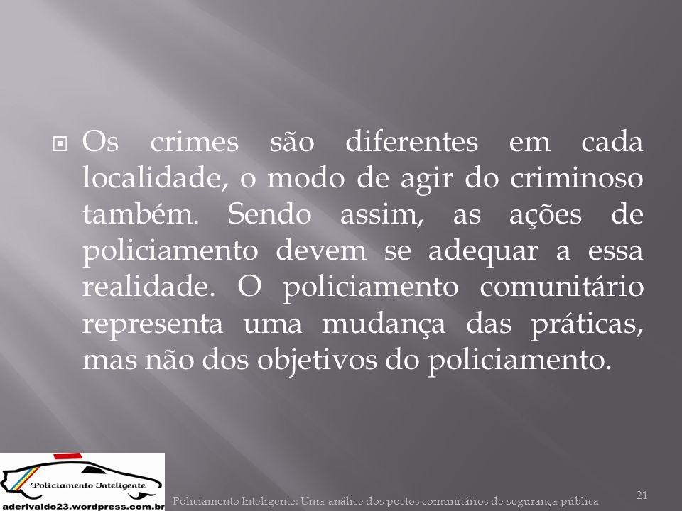  Os crimes são diferentes em cada localidade, o modo de agir do criminoso também. Sendo assim, as ações de policiamento devem se adequar a essa reali