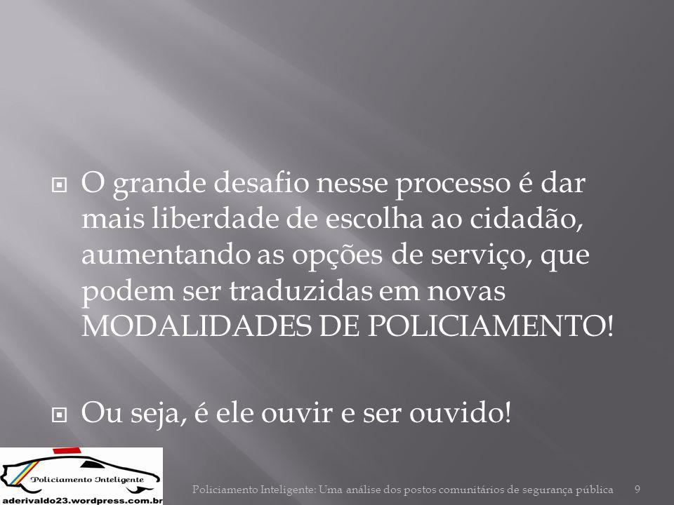  O grande desafio nesse processo é dar mais liberdade de escolha ao cidadão, aumentando as opções de serviço, que podem ser traduzidas em novas MODAL
