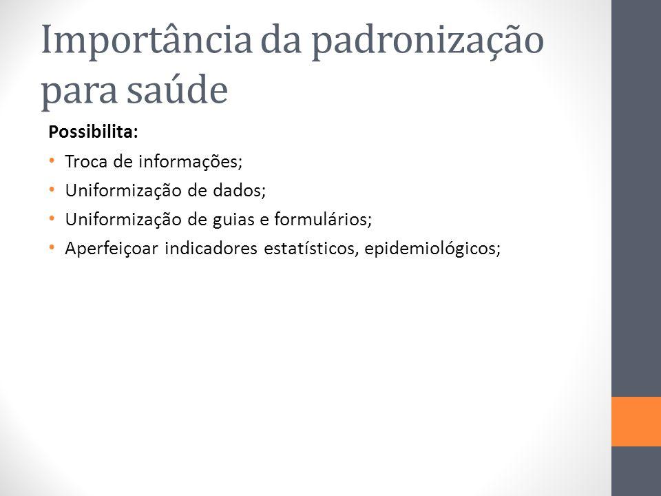 Importância da padronização para saúde Possibilita: Troca de informações; Uniformização de dados; Uniformização de guias e formulários; Aperfeiçoar in