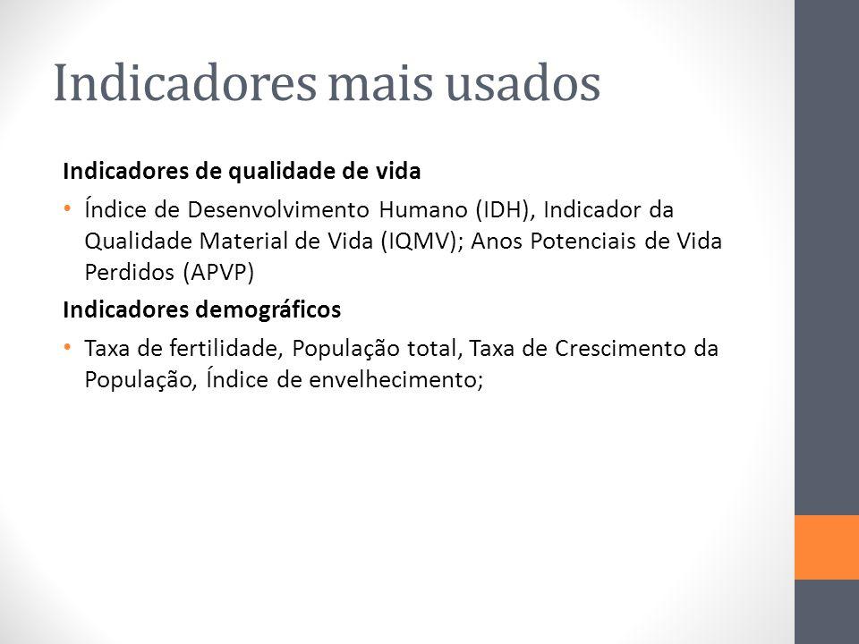 Indicadores mais usados Indicadores de qualidade de vida Índice de Desenvolvimento Humano (IDH), Indicador da Qualidade Material de Vida (IQMV); Anos