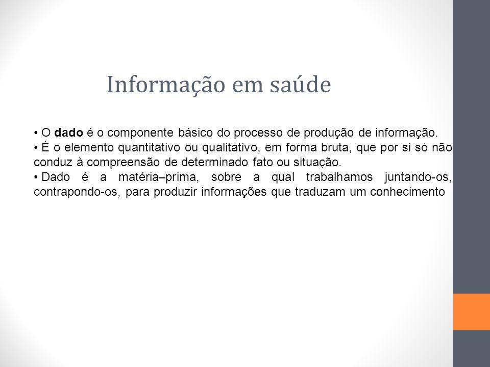 Informação em saúde O dado é o componente básico do processo de produção de informação. É o elemento quantitativo ou qualitativo, em forma bruta, que